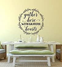 Vinyl Wall Art Decal - Gather Here with Grateful Hearts - Fall Thanksgiving Wreath Give Thanks Autumn Holiday Family Dinin...