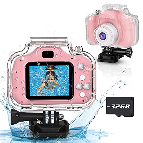 Seckton Upgrade Kids Waterproof Camera Christmas Birthday Gifts for Girls Age 3-12 Children Digital Camera Underwater, HD Video Toddler Camera Toy for 3 4 5 6 7 8 Year Old Girl (Pink)