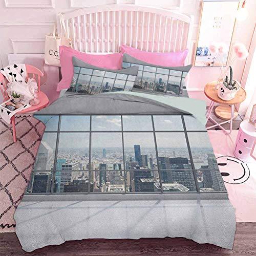 Hiiiman Home Textiles Juego de ropa de cama, paisaje urbano en la noche, abstracto con siluetas con lunares coloridos efecto bokeh