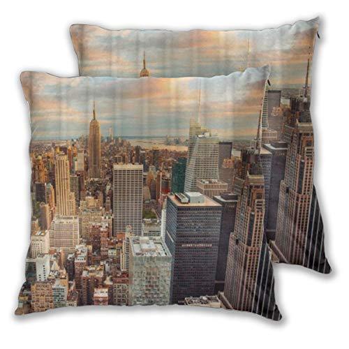 MUYIXUAN Juego de 2 Decorativo Funda de Cojín Atardecer Nueva York Rascacielos Empire State Building Funda de Almohada Cuadrado para Sofá Cama Decoración para Hogar,55x55cm