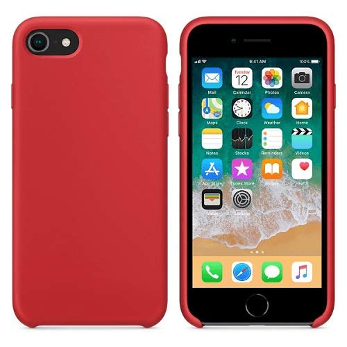 CABLEPELADO Funda Silicona iPhone 7/8 Textura Suave Color Rojo