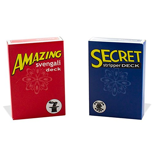 Magic Makers Amazing Svengali and Secret Stripper Deck Kit, Hundreds of Possible Tricks from Beginner to Expert in This Set (Red Svengali and Blue Stripper)