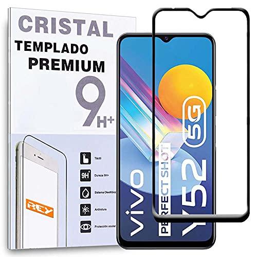 REY Protector de Pantalla Curvo para Vivo Y72 5G - Vivo Y52 5G - IQOO Z3, Negro, Cristal Vidrio Templado Premium, 3D / 4D / 5D, Anti Roturas