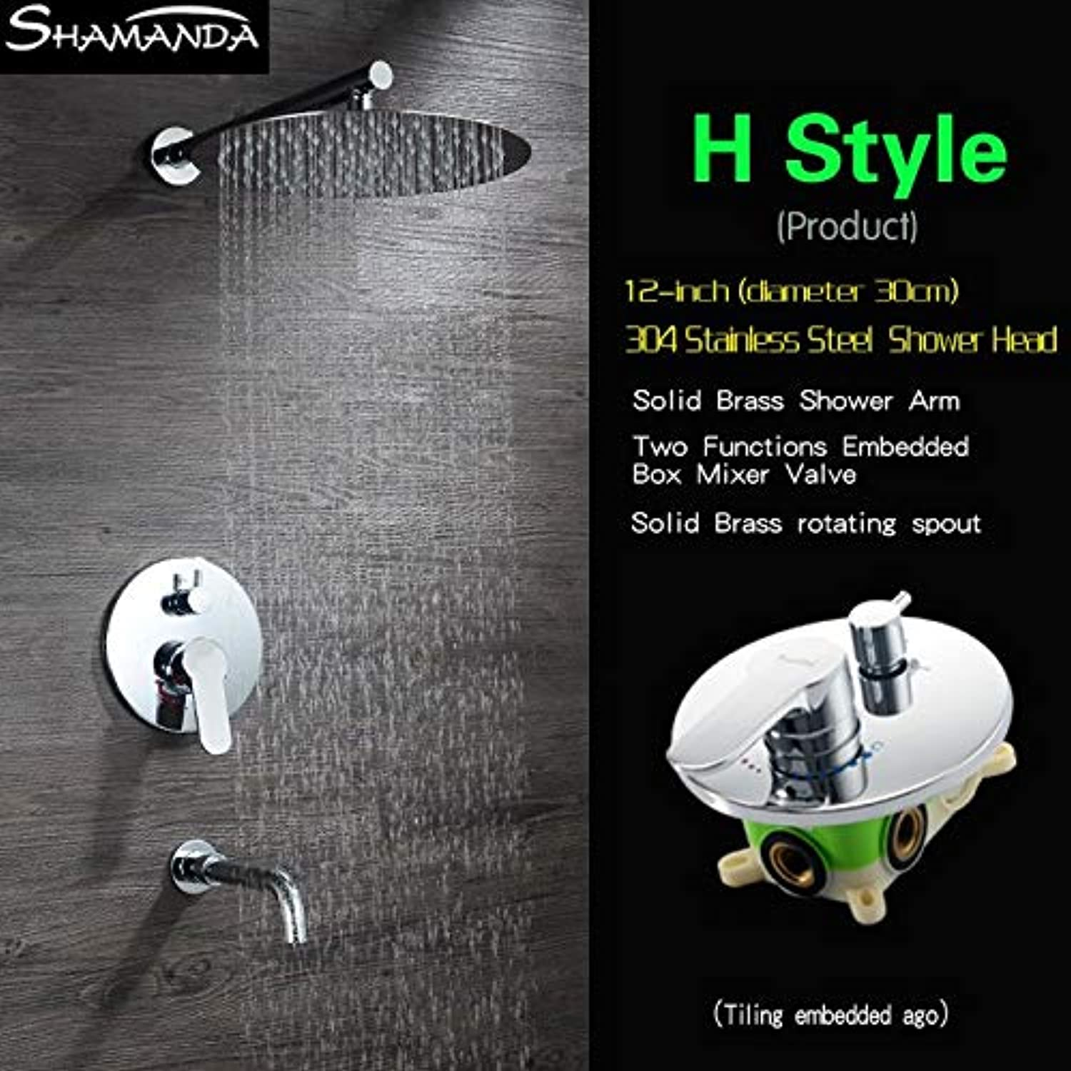 Free Shipping Brass Concealed Round Two Functions Embedded Box Mixer Valve Shower Set with Various Styles Shower Head and Spout,H Style