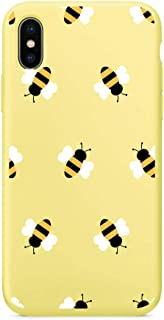 MAYCARI Cute Yellow Bee Pattern Phone Case for iPhone Xs max, Liquid Silicone Soft Rubber Protective Phone Case Cover (with Soft Microfiber Lining) for Women Girls