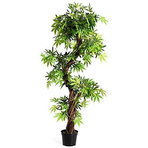 GOPLUS Kunstbaum für Innenräume Zuhause Büro, Kunstpflanzen Bonsai mit Roter Rebe mit Kiel, Künstliche Pflanzen Stilvoll Grün, Kunstblumen Japanisches Art für Innendekoration Wintergarten
