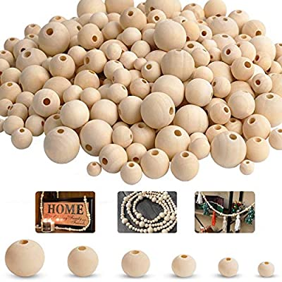 Natural Wood Beads,Unfinished Loose Wood Beads Crafts, Suitable for Home and Holiday Decor, DIY Jewelry Making 6 Sizes