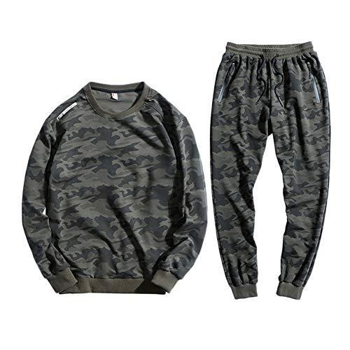 GladiolusA Herren Trainingsanzug Jogginganzug Sportanzug Freizeitanzug Jogginghose + Sweatshirt Oberteil Zwei-Teilig Armee-Grün 8XL