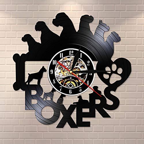 CDNY Ich Liebe Box Welpe Retro Vinyl Rhodos Wanduhr Boxer Hund Silent Tickless Watchdog Besitzer Geschenk Pet Shop