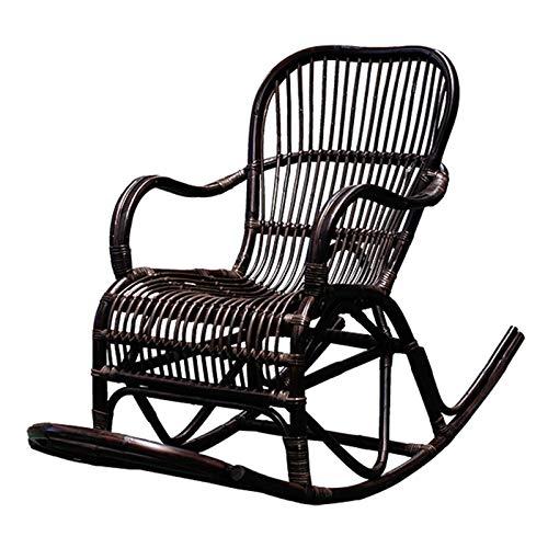QWEA Juego de Mesa Auxiliar y sillas para Exteriores, Mecedora para Patio, Mecedora de ratán de PE, cojín para Silla Mecedora para Exteriores, Mesa de Centro con luz Ambiental