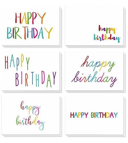 Best Paper Greetings Gelukkige Verjaardag Wenskaarten (48-Pack) - Verjaardagskaart Variety Pack - 6 Unieke Regenboog Fonts - Blank aan de binnenkant, Enveloppen Inbegrepen - 10 x 15 Centimeter