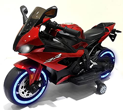 Kids Motorcycle,TAMCO 12V Ride on Motorcycle with Hand Racing /Foot Brake/Light Wheel/PU seat