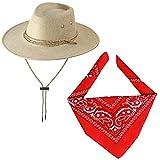 Haichen Accesorios de Disfraces de Vaquero Sombrero de Vaquero con pañuelo Conjunto de Vaquero para Halloween Cosplay Disfraces (Beige)