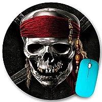 KAPANOU ラウンドマウスパッド カスタムマウスパッド、海賊の頭蓋骨、PC ノートパソコン オフィス用 円形 デスクマット 、ズされたゲーミングマウスパッド 滑り止め 耐久性が 200mmx200mm