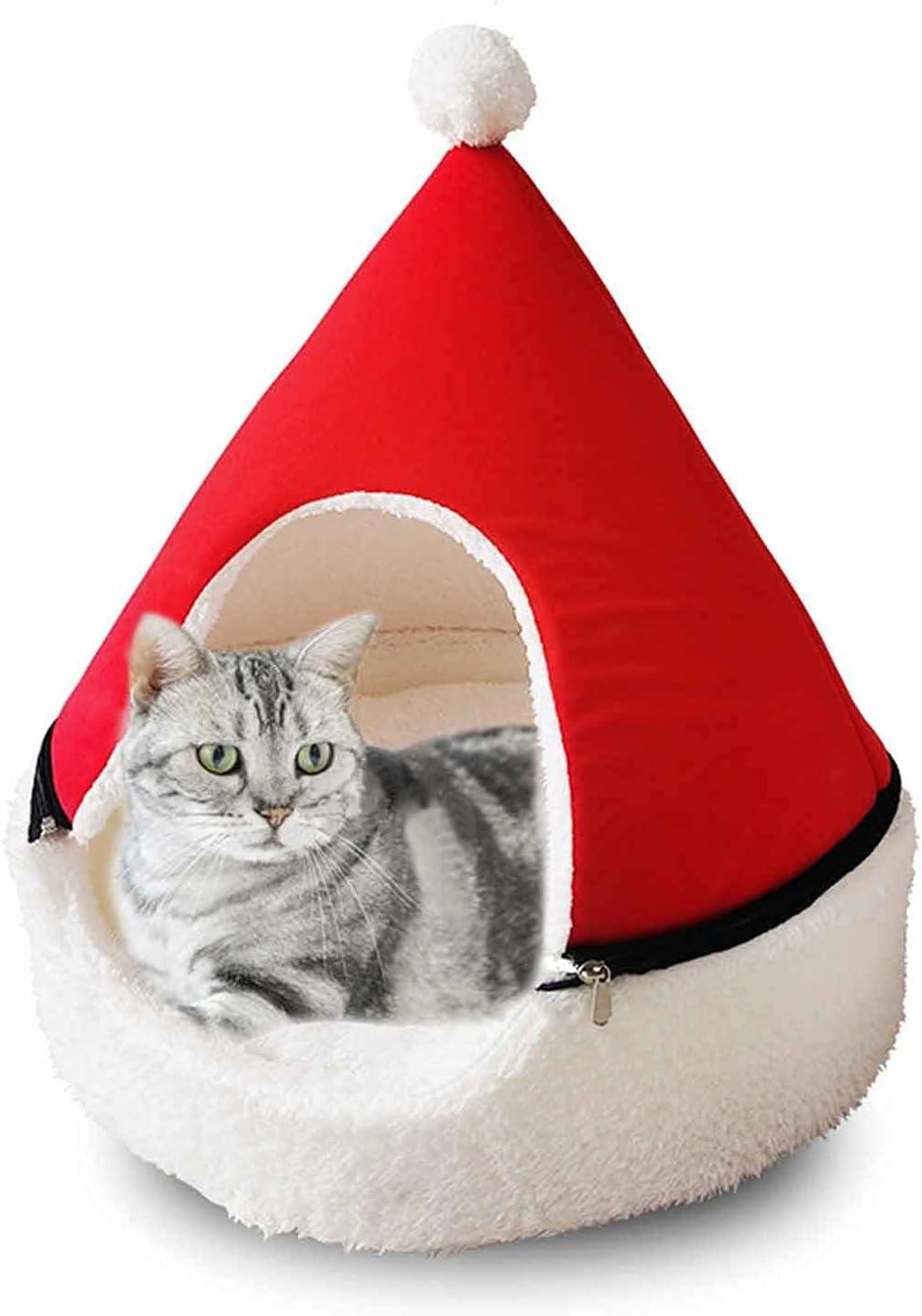 YLJJ Cama para Gatos con árbol de Navidad, casa para Perros cálida y Cerrada de Invierno, Nido Suave para Mascotas, Cama para Perros yurta extraíble y Lavable para Mascotas