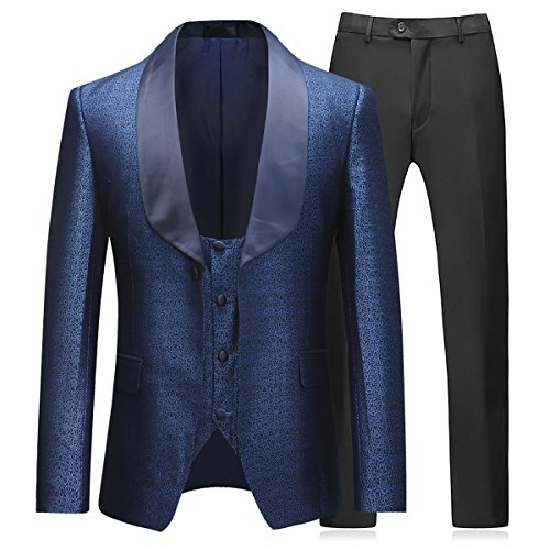 Boyland Mens 3 Piece Tuxedo Suits Dinner Party Prom Groom Tuxedos(Jacket+Vest+Pants) (Large) Blue