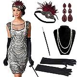 Dsaren Anni 20 Set , 1920s Accessori Gatsby Costume Guanti Lunghi Neri Bocchino Sigaretta Costumi Charleston Fascia Capelli Perle Collana Lunga per Donne Articoli Feste