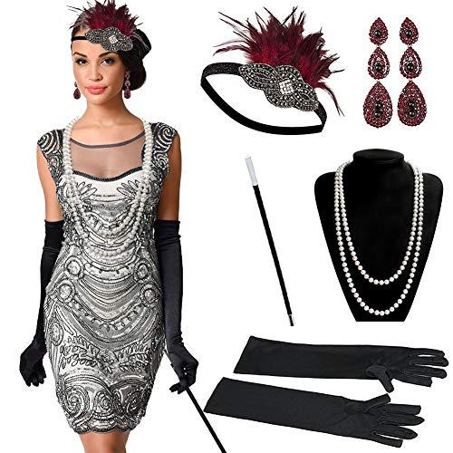 Dsaren Complementos Fiesta Disfraces 1920s Accesorios Charlestón Vestido Diadema Plumas Negras Guantes Vintage Mujer para Halloween Boda Fiesta
