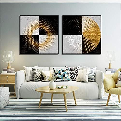 Moderne Poster Zwart en Wit Vierkanten Doodle Gouden Ringen Foto Print Canvas Schilderij voor Home Wall Art Woonkamer Decor 50x50cmx2 unframed