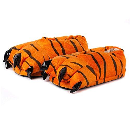 Katara 1773 Tatzen Hausschuhe - warme Pantoffeln Tiger-Kostüm Kinder Erwachsene - OneSize Onesie Karneval Kostüm, Orange/Schwarz, 29-36