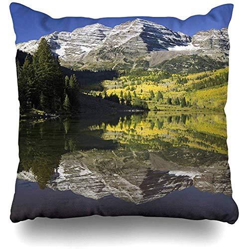 SSHELEY Kissenbezug Keine amerikanischen Herbstfarben Espen, die den See unter dem Naturpark widerspiegeln Amerika Parks Area Bells Snowmass Kissenbezug