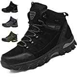 [VITIST] トレッキングシューズ メンズ ハイキングシューズ 防水 登山靴 アウトドアシューズ キャンプシューズ 革 防滑 3e ハイキング 靴 軽量 大きいサイズ 24.0cm-28.0cm 黒 25.5cm