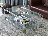 Bold Tones Rectangular Acrylic Gold Tempered Glass and Shelf Modern Metal Coffee Table