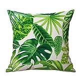Cosanter Cojín Tropical Verde Hojas de Planta Manta Funda de Almohada Cojines Sofas Fundas Cojines para sofá Coche Decoración para el Hogar 17,7 '