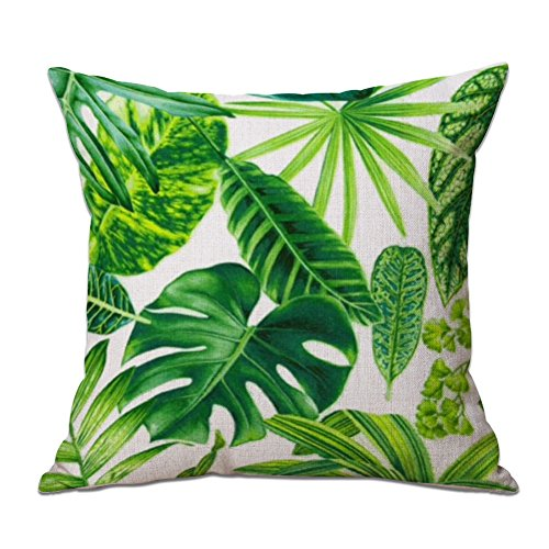 Cosanter Cojín Tropical Verde Hojas de Planta Manta Funda de Almohada Cojines Sofas Fundas Cojines para sofá Coche Decoración para el Hogar 17,7'