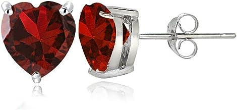 Delicate heart earrings Heart Shaped Push Backs Stud Earrings For Her July Birthstone Handmade Petite Gold Ruby Heart Stud Earrings