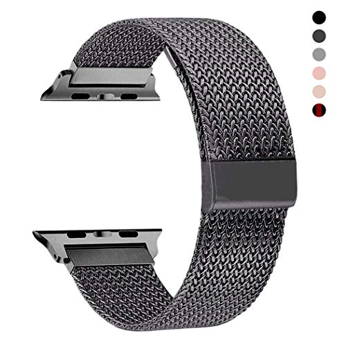 RXCOO Compatible for Apple Watch Band 38mm/40mm 42mm/44mm, Stainless Steel Mesh Wristband Loop Magnet Band Compatible with Iwatch Series 5/4/3/2/1 (Gray, 38mm/40mm)