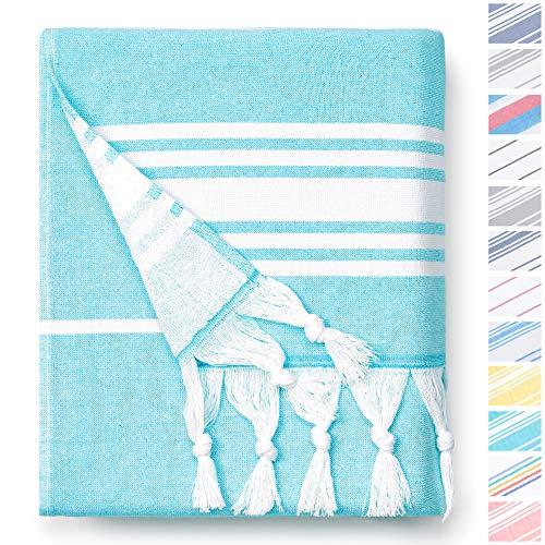 Aqua Turkish Towel by Laguna Beach Textile Co - Oversized Thick Cotton Fouta - Classic Coastal Peshtemal - Lightweight, Portable, Super Absorbent - Woven and Terry Extra Large Hammam…