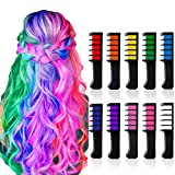 10 Colors Hair Chalk for Girls Birthday Gift Temporary Hair Chalk Comb Color Set for Girls Age 5 6 7 8 9 10+ Kids Hair Dyeing Cosplay on Birthday Easter Party