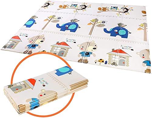 Tappeti Gioco Bambini Circa 200x180x1cm,Tappeto per Bambini Pieghevole Tappetino Schiuma XPE Pavimento Antiscivolo su Entrambi i Lati Portatile Impermeabile