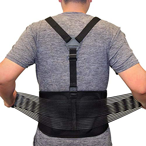 AllyFlex Sports Back Brace for Heavy Lifting with Suspenders, 3-Way Adjustable Safety Belt with Dual Lumbar Pads for Lower Back Support and Injury Prevention, Large