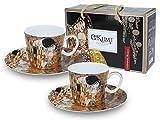 Carmani - Coppa del caffe espresso con piattino Set di 2 con 'Il bacio' di Gustav Klimt
