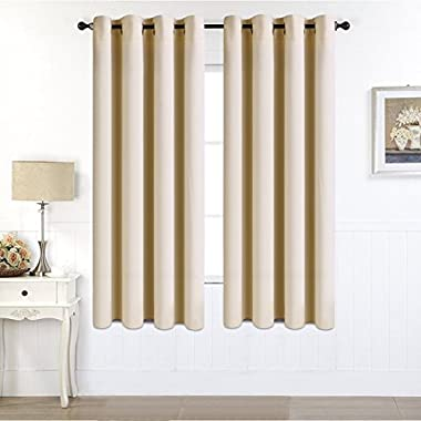 EASELAND Blackout Curtains 2 Panels Set Room Darkening Drapes Thermal Insulated Solid Grommets Window Treatment Pair for Bedroom, Nursery, Living Room,W52xL63 inch,Beige