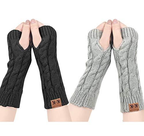 ECOMBOS Damen Fingerlose Handschuhe - Winter Armstulpen Handschuhe Damen Pulswärmer Strick Kurzer Gestrickte Halb Fingerlose Fäustlinge (Schwarz+Grau)