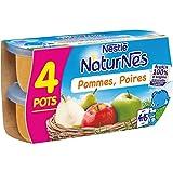 NESTLE NATURNES Compotes Bébé Pommes Poires - Dès 4/6 mois - 4x130g - Pack de 6