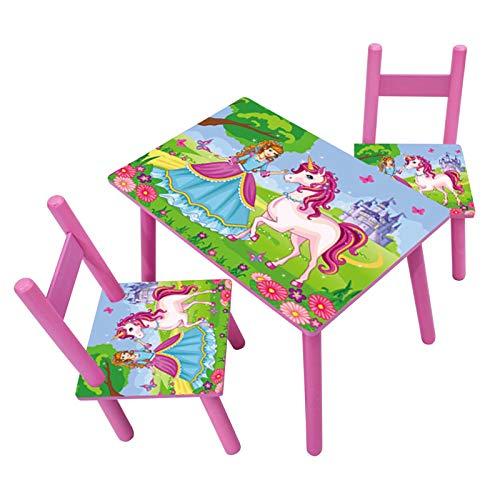 HTI-Line Kindertischgruppe Einhorn Kindermöbel Kinderstuhl Kindersitzgruppe Holzsitzgruppe Kindertisch mit 2 Stühle Sitzgruppe für Kinder Vorschüler Kleinkinder