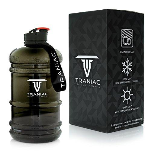 TRANIAC - Train Like A Maniac Tritan Water Bottle, 2.2L, Set of 1, Black