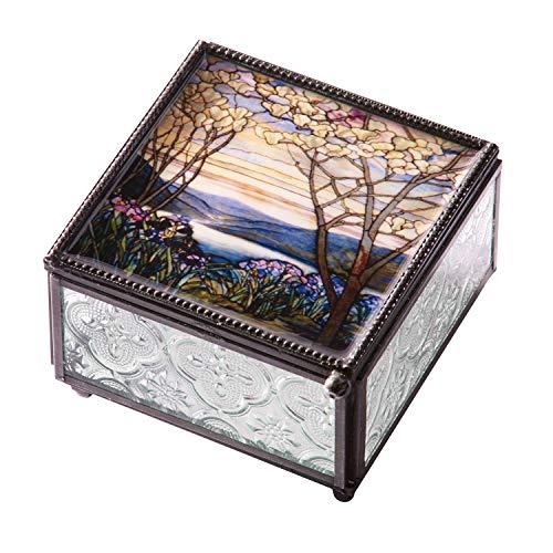 ART & ARTIFACT Louis Comfort Tiffany Magnolia Tree Trinket Box - Pressed Glass Jewelry Box