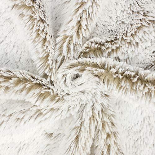 kullaloo Zottelplüsch/Shaggy Plüschstoff DIP DYE dunkle Grundfarbe, helle Spitzen - 15 mm Supersoft Shaggy als Meterware - 0,5m (Camel/wollweiß)