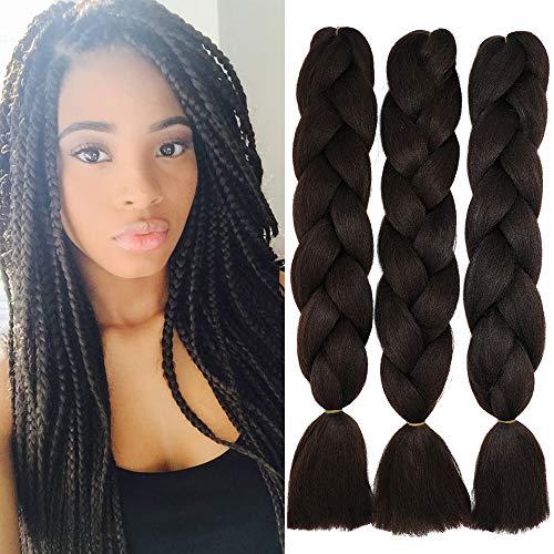 60cm Braids Kunsthaar Jumbo Braiding Hair Haarverlängerung Haar Synthetik Flechten Crochet Haarteile 3PCS 100g/Bündel (A-Mittel braun)