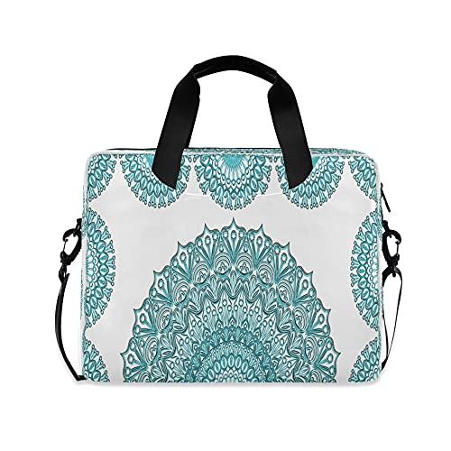 Mandala Niñas 14 pulgadas Laptop Bag Teal Floral India Kids 10 Tablet Case Bolsos para la escuela secundaria Mujeres 15.6 Ordenadores Bolsa Maletín