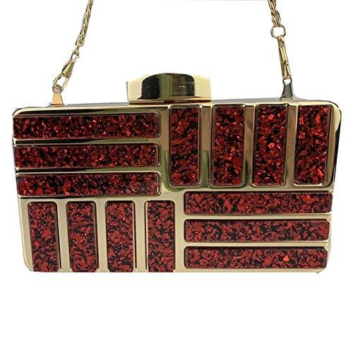 TEYUN Clutch, Acryl, Abendtasche, Partytasche, Rot