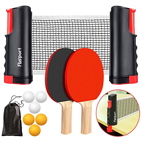 FBSPORT Ping Pong Paddle Set, Portable Table Tennis Set with Retractable Net, 2 Rackets, 6 Balls and Carry Bag for Children Adult Indoor/Outdoor Games, Black