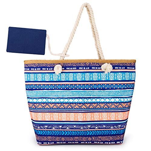 peinat Große Strandtasche mit Reißverschluss und Innentasche Wasserdicht Shopper Large Sommer Leinentragetaschen Seil Damen TascheVerschluss Badetasche Umhängetasche für Reise,Kaufen,Ausflug usw
