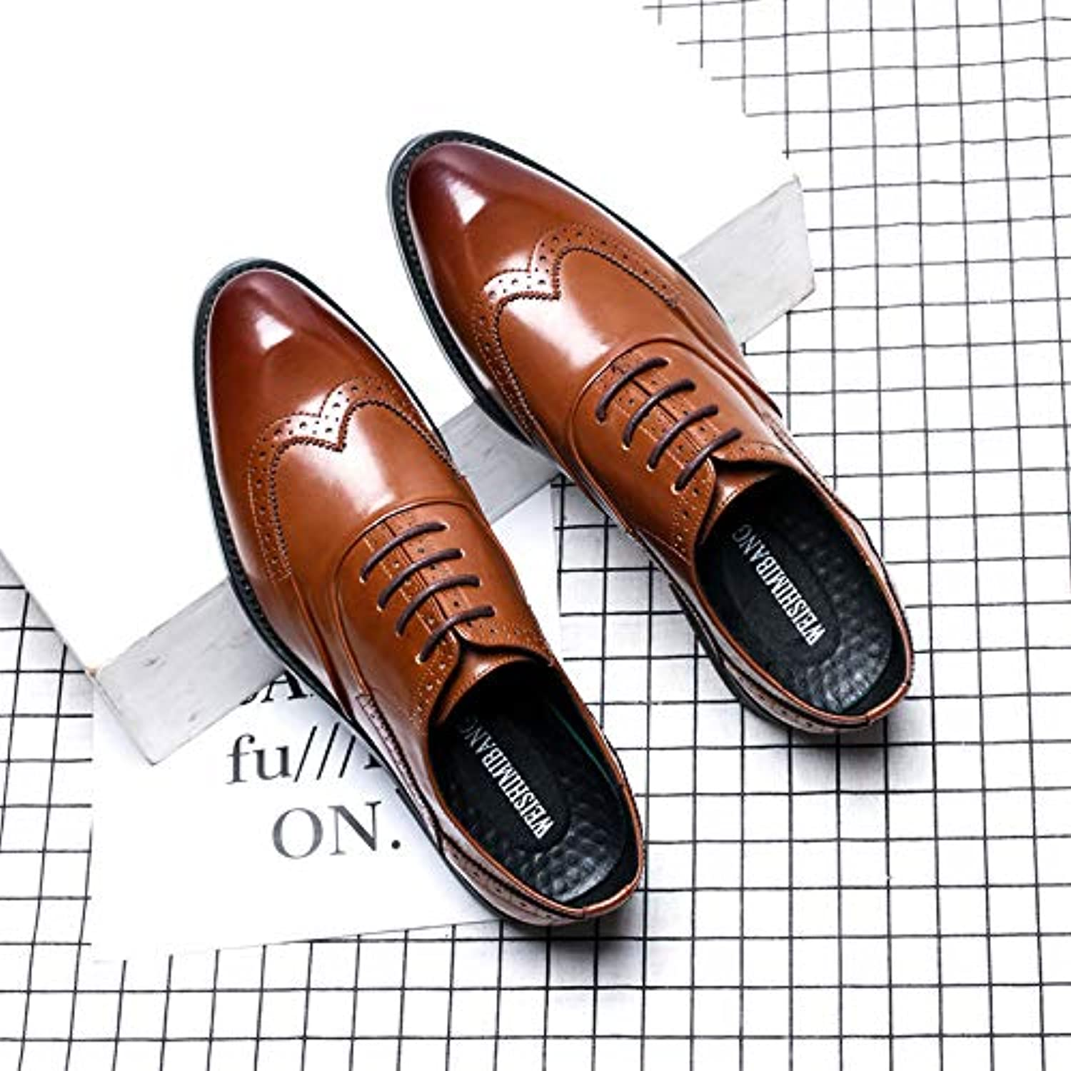 LOVDRAM Men'S shoes Autumn And Winter Fashion Brock Carved shoes Men'S Fashion Dress Business shoes Casual Pointed Fashion Men'S shoes