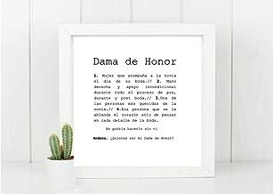 Cuadro para testigos, Damas de Honor, Madrina y Padrino. de Boda. Personalizado. Incluye marco.